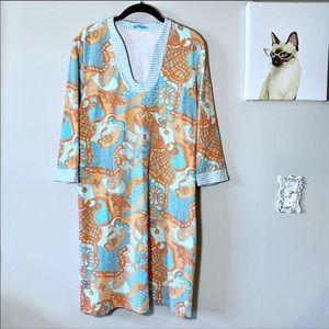 J McLaughlin Nautical Print 3/4 Sleeve Dress